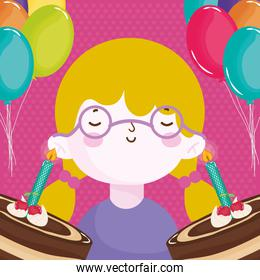 happy birthday boy with glasses and chocolate cakes candles balloons