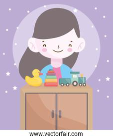 happy little girl furniture with duck train toys