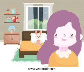 happy little girl in the bedroom with rabbit and toys