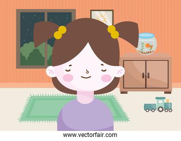 happy little girl with fish in bowl train wagon in the room