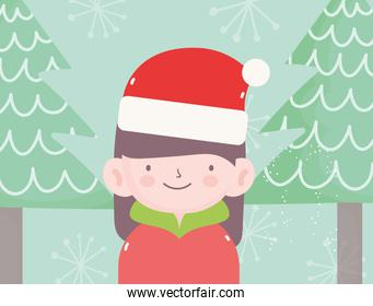 merry christmas little girl with hat of santa trees snow