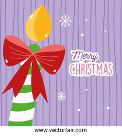 merry christmas celebration decorative candle red bow smow