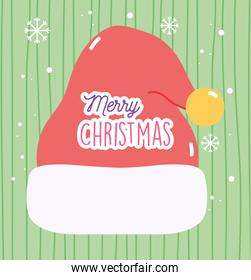 merry christmas celebration hat of santa snowflakes