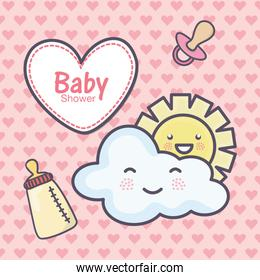 baby shower heart pacifier feeding bottle cloud sun hearts background