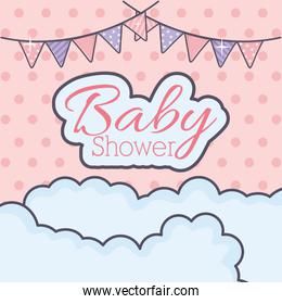 baby shower bunting clouds decoration