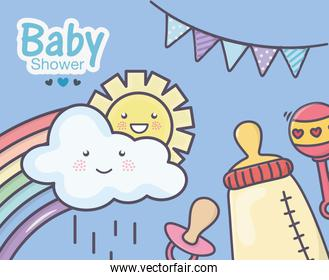 baby shower feeding bottle pacifier rattle rainbow clouds bunting