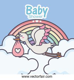 baby shower stork diaper pink rainbow clouds