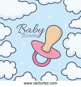 baby shower pacifier clouds bright background