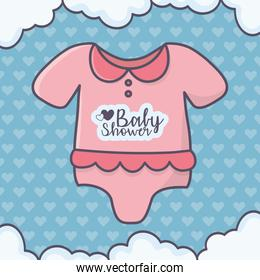 baby shower pink bodysuit clouds hearts background