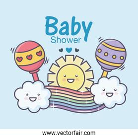 baby shower rattles toy sun rainbow clouds