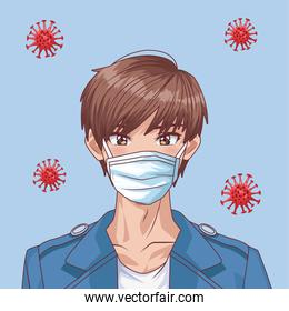 young man with face mask and covid19 particles anime style