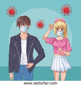 couple with safety masks and covid19 particles anime style