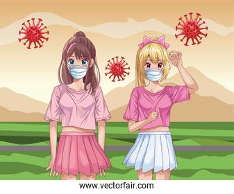 girls with face masks and covid19 particles in the field