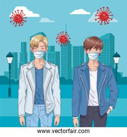 boys with face masks and covid19 particles on the city