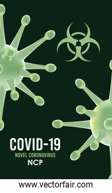 covid19 particles and lettering with biohazard symbol pattern