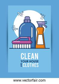 clean your house and clothes lettering with equipment