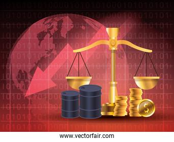 oil price market with barrels and balance