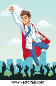 super doctor flying with people cheering