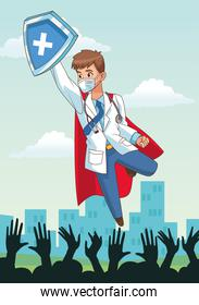super doctor flying with shield and people cheering