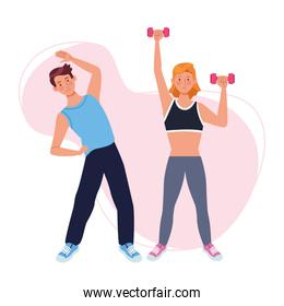 couple lifting dumbbells athletes characters
