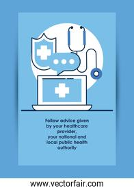 flyer with covid19 recommendation of follow advice health autority