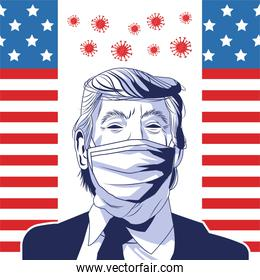 trump wearing face mask by covid 19 with usa flag and particles