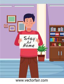 man with stay at home covid19 banner