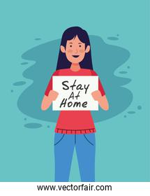 woman with stay at home covid19 banner