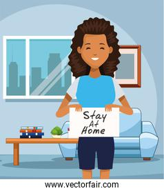 smiling afro woman with stay at home covid19 banner