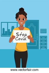 afro woman with stop covid19 banner character