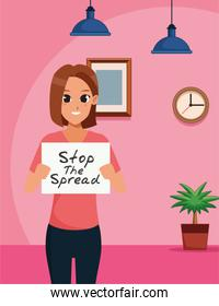 woman with stop spread covid19 banner