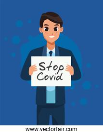 businessman with stop covid19 banner character