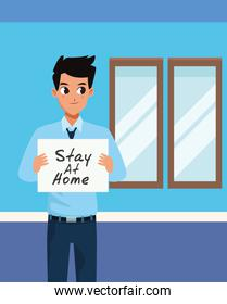 smiling businessman with stay at home covid19 banner