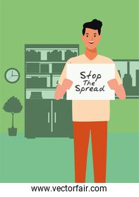 man with stop spread covid19 banner