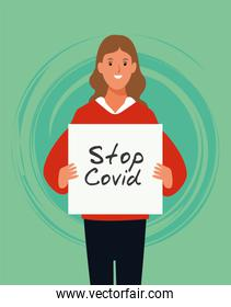 woman with stop covid19 banner character