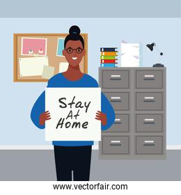 afro woman with stay at home covid19 banner
