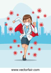 super female doctor with hero cloak running on the city
