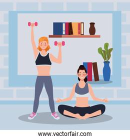 women practicing exercise in the house