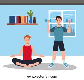 men practicing exercise in home