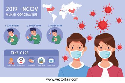 covid19 pandemic flyer with couple using face masks infographics