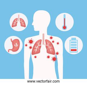 silhouette human with lungs and covid19 set icons