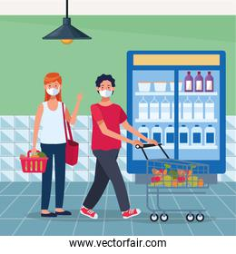 couple shopping in supermarket with face mask