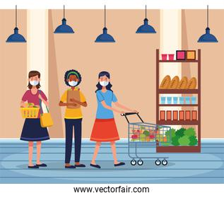 women shopping in supermarket with face mask
