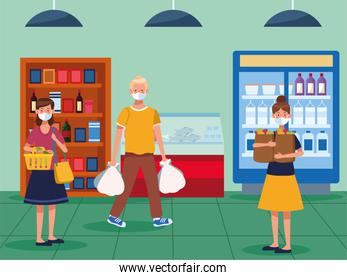 people shopping in supermarket with face mask