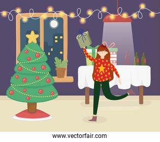 merry christmas woman with ugly sweater tree gifts table lights party celebration