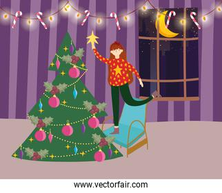 merry christmas woman on chair decorating tree star room celebration