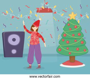 merry christmas woman with ugly sweater tree speaker confetti celebration
