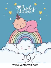 baby shower little girl sleeping in rainbow clouds cartoon