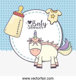 baby shower cute unicorn bottle and bodysuit sticker