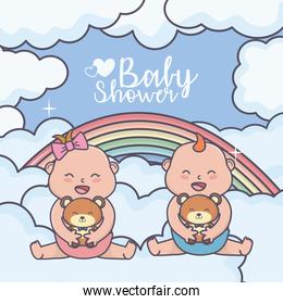 baby shower little boy and girl with teddy bear rainbow clouds